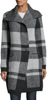 Neiman Marcus Plaid Shawl-Collar Cardigan, Charcoal