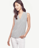 Ann Taylor Petite Geo Pleated V-Neck Shell