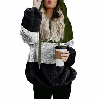 Doldoa Women Shirts Hoodie for Women - Women's Oversized Warm Double Fuzzy Hoodies Casual Loose Pullover Hooded Sweatshirt Outwear(White L)