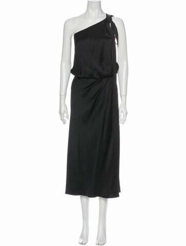 Rochas Silk Long Dress Black