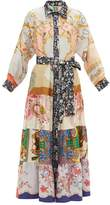 Rianna + Nina - Vintage Silk-panelled Maxi Shirt Dress - Womens - Multi