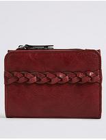 M&S Collection Faux Leather Plait Purse with CardsafeTM