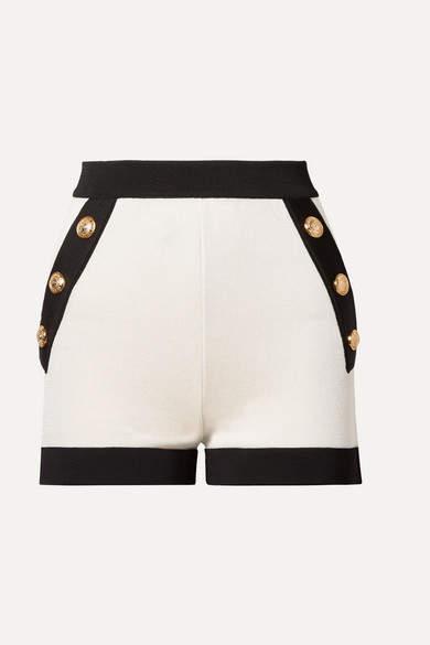 Balmain Button-embellished Two-tone Stretch-knit Shorts - White