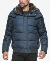 Andrew Marc Men's Rockingham Puffer Bomber with Faux Fur Collar