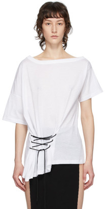 Ann Demeulemeester White Tie-Up T-Shirt