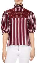 Sandro Rapahelle Striped Lace-Inset Top