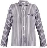 SKIN Lace-trimmed striped-cotton pyjama shirt