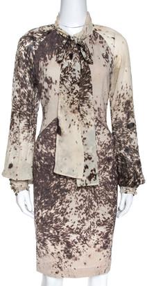 Roberto Cavalli Bicolor Printed Wool Neck Tie Detail Dress L