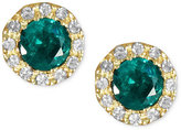 Effy Brasilica by Emerald (3/4 ct. t.w.) and Diamond (1/8 ct. t.w.) Button Stud Earrings in 14k Gold