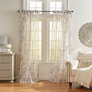 Elrene Home Fashions Westport Floral Tie-Top Sheer Curtain Panel, 52 x 95