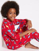 Marks and Spencer Cotton Dinosaur Print Pyjamas with Stretch (1-16 Years)