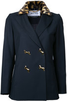 Muveil leopard collar double breasted jacket - women - Acrylic/Polyester/Rayon - 36