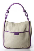 Hogan Beige Canvas Purple Leather Detail Tote Handbag