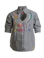 Vivienne Westwood Heart cut-out puff-sleeved gingham cotton shirt