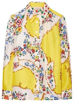 Tory Burch Floral Print Silk Top