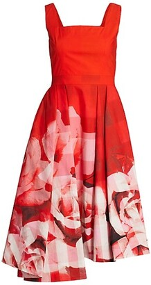 Alexander McQueen Sleeveless Rose Check Silk Day Dress