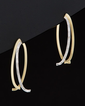 Italian Gold 14K Two-Tone Polished & Diamond Cut Double Curved Bar Front & Back Earrings