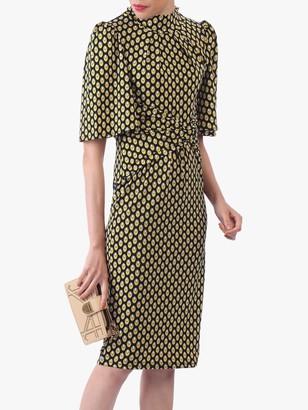 Jolie Moi Eyelet Print High Neck Midi Dress, Black/Yellow