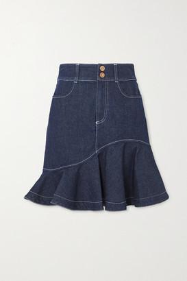 See by Chloe Ruffled Denim Skirt - Dark denim