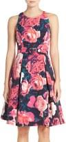 Eliza J Belted Floral Print Fit & Flare Dress (Petite)
