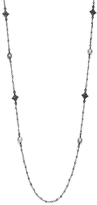 Armenta Blackened Sterling Silver Old World Midnight Tahitian Pearl, Champagne Diamond and Tourmaline Beaded Cravelli Station Necklace, 39""