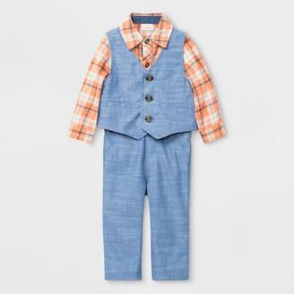 Cat & Jack Baby Boys' 3pc Chambray Vest Top & Bottom Set - Cat & JackTM Peach/Blue