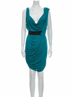 Vionnet Cowl Neck Knee-Length Dress Green
