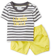 Absorba Newborn/Infant Boys) Two-Piece Stripe Lemon Smile Tee & Shorts Set
