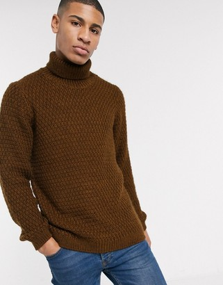 Asos DESIGN fluffy roll neck sweater with basket texture in brown