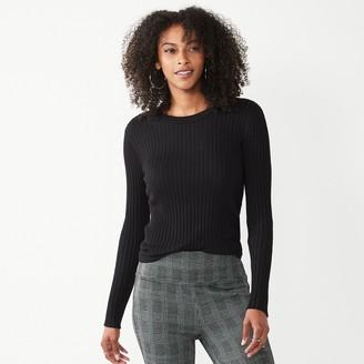 Nine West Women's Ribbed Long Sleeve Crewneck Sweater