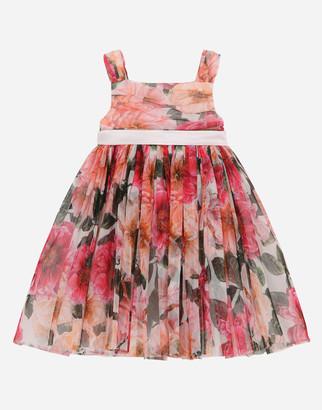 Dolce & Gabbana Camellia-Print Tulle Midi Dress