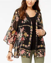 Style&Co. Style & Co Petite Printed Open-Front Kimono Top, Created for Macy's