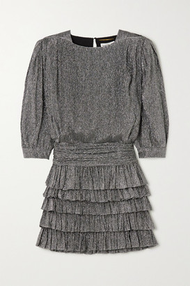 Saint Laurent Ruffled Tiered Metallic Silk-blend Mini Dress