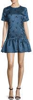 Cynthia Rowley Short-Sleeve Flounce-Hem Dress, Navy/Black