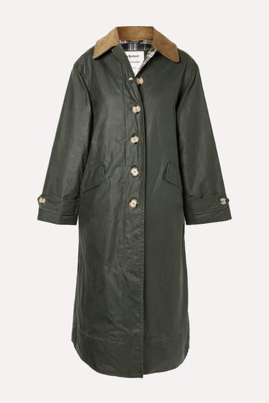 Barbour Alexachung Maisie Corduroy-trimmed Waxed-cotton Jacket - Dark green