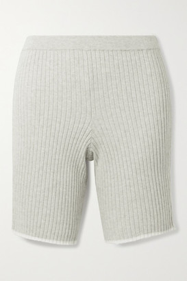 Skin Macey Ribbed Cotton And Cashmere-blend Shorts - Stone