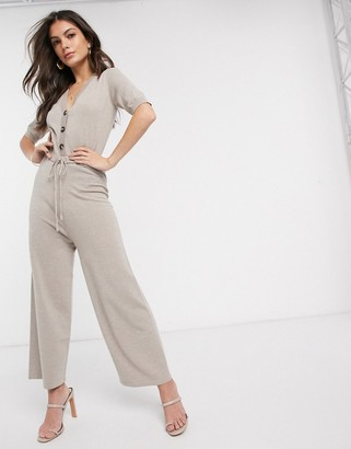 Fashion Union knitted button detail jumpsuit