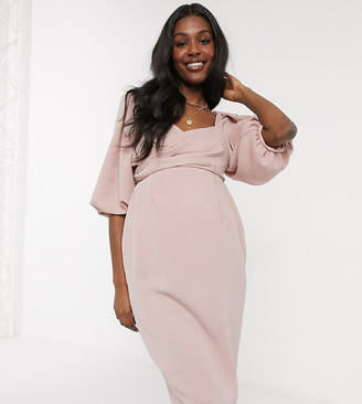 Asos DESIGN Maternity wrap front midi dress with puff sleeves in pink