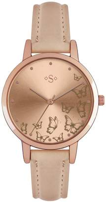 Seiko Spirit Ladies' Butterfly Gold Dial Nude Strap Watch