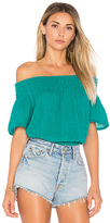 Michael Stars Smocked Off The Shoulder Top in Green. - size M (also in )