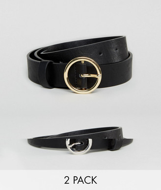 ASOS DESIGN 2 pack circle buckle waist and hip jeans belts