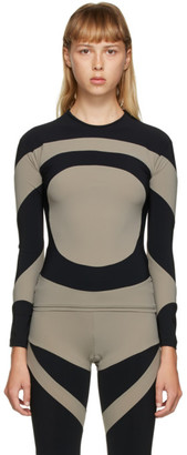 Paula Canovas Del Vas Black and Grey Lycra Long Sleeve T-Shirt