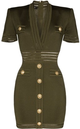 Balmain V-Neck Button-Embellished Mini Dress