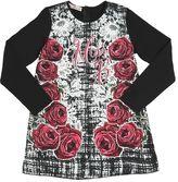 Miss Blumarine Roses Satin & Cotton Jersey Maxi T-Shirt