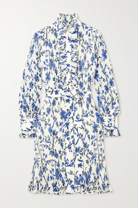 Tory Burch Deneuve Belted Ruffled Floral-print Crepon Mini Dress - Blue