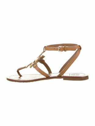 Tory Burch Leather Logo Sandals Brown