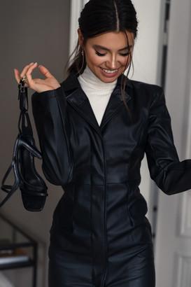 NA-KD Power Shoulder PU Dress Black