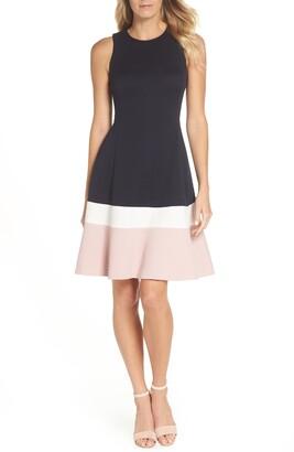 Brinker & Eliza Colorblock Texture Knit Fit & Flare Dress