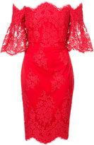 Badgley Mischka scalloped lace dress