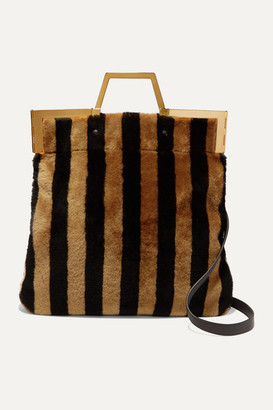 Fendi Striped Medium Shearling Tote - Brown